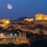 Acropolis and the parthenon at night